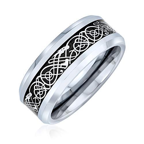 Bling Jewelry - Alianza de boda plana con incrustaciones negras y dragón celta de tungsteno, tamaño 5