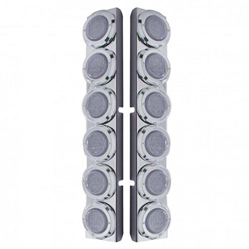 Rear Air Cleaner - Peterbilt Rear Air Cleaner Bracket w/ 12 Flat LED Lights & Bezel - Red LED/Clear Lens