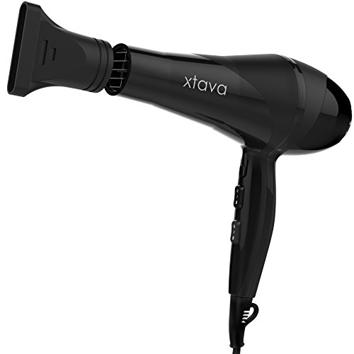 xtava Pro Hair Dryer Ionic 2200 Watt with 2 Speeds 3 Heat Settings Concentrator Nozzle for Fast Drying - NEW and IMPROVED Model with Lightweight Design, Professional Hair Dryer Ceramic Blow Dryer (White Hair Dryer With Nozzle compare prices)
