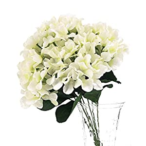 Charmly 7 Big Head Artificial Hydrangea Flowers Fake Silk Bouquet Flower for Home Hotel Wedding Party Garden Floral Decor Approx 17'' high White 8