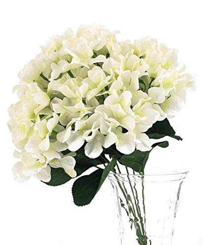 Charmly 7 Big Head Artificial Hydrangea Flowers Fake Silk Bouquet Flower for Home Hotel Wedding Party Garden Floral Decor Approx 17'' high White from Charmly