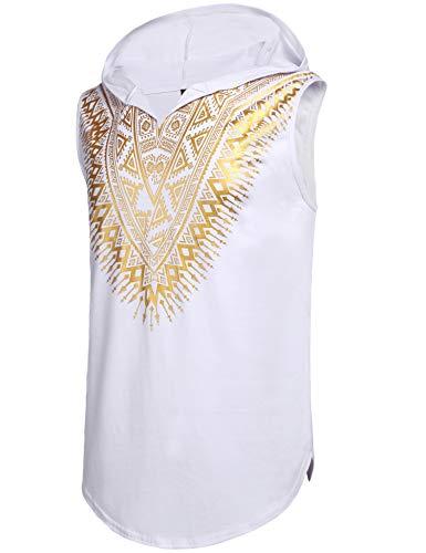 Shirt Dashiki Men African - Pacinoble Mens African Dashiki Shirt Metallic Floral Printed Sleeveless Pullover Hoodie Tank Top T Shirts