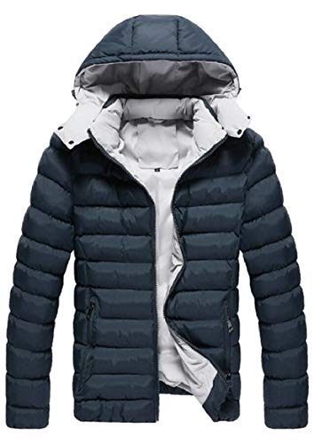 Hooded Blackish Jacket Quilted Coat Men's Padded Cotton security Down Green Warm wOqPxF