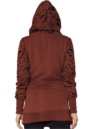 Sudadera de mujer estampada con capucha y cremallera lateral asimétrica 100% algodón Marrón