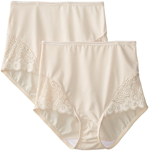 Bali Women's Shapewear Brief with Lace Firm Control 2-Pack, Light Beige, Large