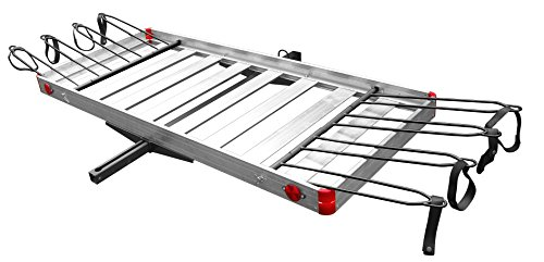 Rack Aluminum Bicycle - Tow Tuff TTF-2762ACBR 2-in-1 Aluminum Cargo Carrier with Bike Rack