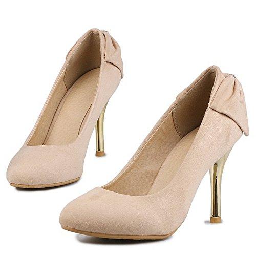 COOLCEPT Mujer Moda Tacon De Aguja Bombas Zapatos Sin Cordones Zapatos Tacon Alto Delgado Albaricoque