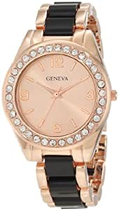 Geneva Moderate Women's AMZ1032 Multi-Bezel Rose Gold and Black Link Bracelet Watch