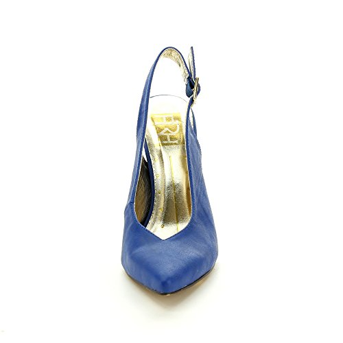 Back 6 Heel FAHRENHEIT Womens Party Stiletto 03 Sling BLUE Pumps Dress 5 BRENDA wnpPOqPx4I