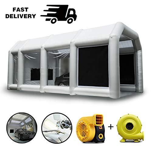 Spray Booth, LuckyWe Car Paint Inflatable Paint Booths 33x16.5x13FT with Two Blowers Filter Environmental Solutions Portable Large for Hobby Airbrush Painting Tent