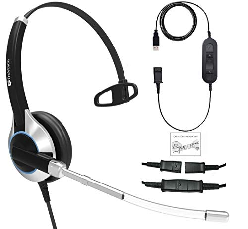 - TruVoice Deluxe Single Ear Voice Tube Headset with USB Adapter Cable with Mute Switch and Volume Control for PC, Softphones; Skype, Skype for Business, Office 365, Avaya One-X and Cisco Jabber etc