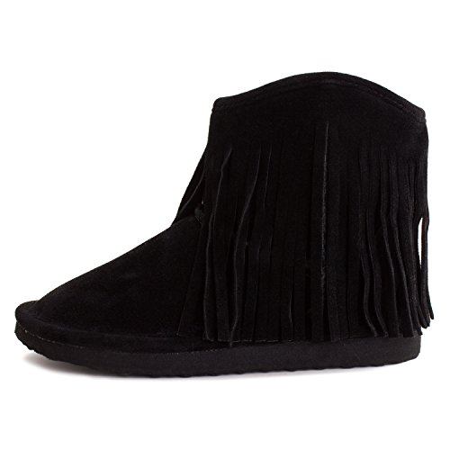 Kali Womens Fringe Fur Lining Faux Suede Enkellaarsjes (volwassenen) Zwart