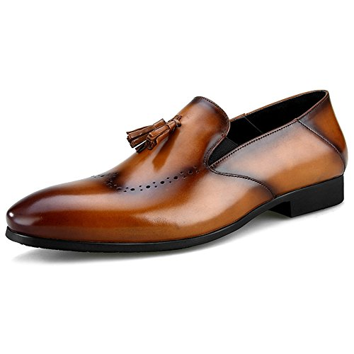 Da Del Pelle Mocassini Uomini Su Dei Shoe Business MERRYHE Piatto Formale Scarpe Brogue Fannulloni Deck Slittamento Brown Barca Guida Vera Vestito Di wCBBnax