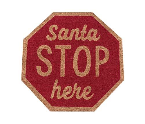 Mud Pie Christmas Woven Coir Floor Door Mat Santa OR North Pole 4125005 (Santa STOP Here) (Christmas Mat Coir Door)
