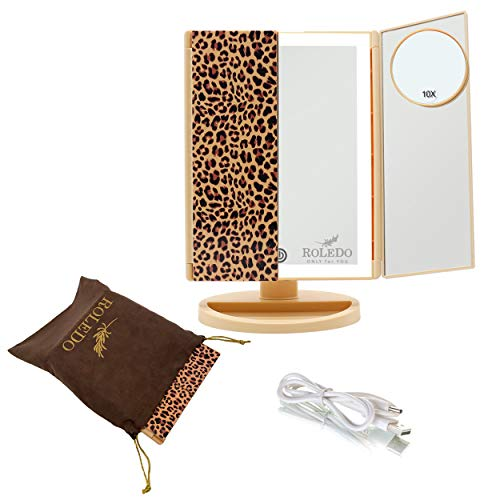 RoLeDo Makeup Mirror Vanity Mirror with Lights, 2X3X10X Magnification, 36 Led Tri-Fold Touch Screen, Dual Power Supply, Portable Lighted Mirror, Light Up Make Up Mirrors, Lit Cosmetic Leopard Print
