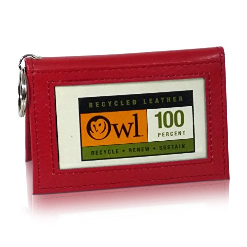 OWL Two-Fold RED Small Leather Bifold ID Card Holder Wallet with Keychain for Men and Women -