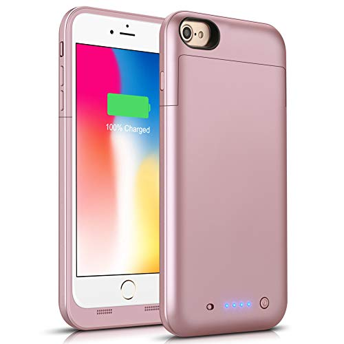 Battery Case for iPhone 6s Plus/6 Plus, 6800mAh Conqto Portable Protective Power Charging Case Compatible with iPhone 6 Plus/6s Plus (5.5 inch) Rechargeable Extended Battery Charger Case-Rose Gold