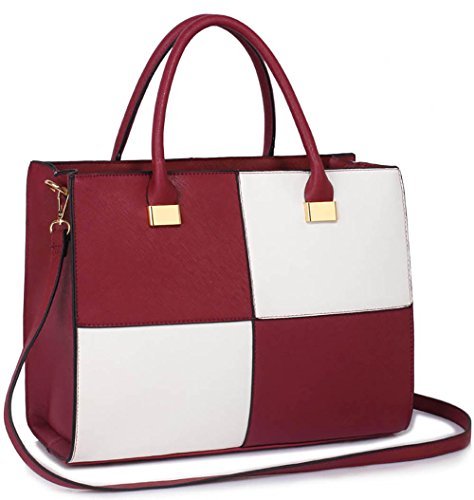 Design Large Fashion Handbags Extra Ladies 1 Burgundy White Extra Womens Leather Large Bags Medium Designer Large Large Faux 7gAPw