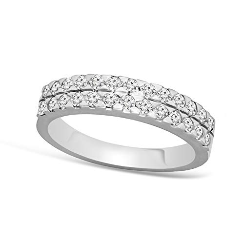 - 100% Pure Diamond Ring Pave Diamond Ring 5/8 ct Lab Grown Diamond Engagement Rings For Women Lab Created Diamond Rings SI-GH 925S Sterling Silver Real Diamond Band Rings