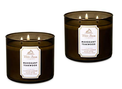 Bath & Body Works White Barn 3-Wick Candle in Mahogany Teakwood (Pack of 2) (Mahogany Scented Candle)
