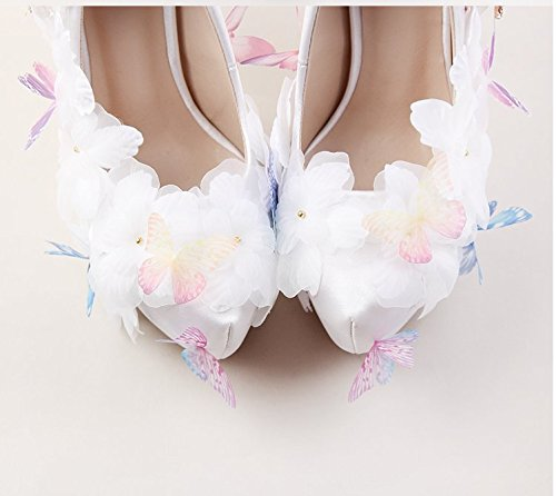 Shoes High Sandals Rhinestone Shoes Woman Feather Shoes White Heel Party Super VIVIOO Shoes Wedding Flower Butterfly 12Cm 4 Heeled Dress Beautiful Prom Uxqz5vw
