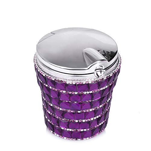 kiwilife Car Ashtray Diamond Bling Car Cigarette Ashtray with Blue LED Light Smokeless Stand Cylinder Cup Holder (Dark Purple)
