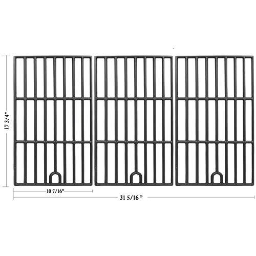 (Hisencn Cast Iron Cooking Grid Grates Repair Replacement for Select Master Forge 3218LT, 3218LTM, 3218LTN, DG0576CC, E3518-LP, L3218, Perfect Flame SLG2007D,Kenmore 148.1615621 Gas Grill Models,)