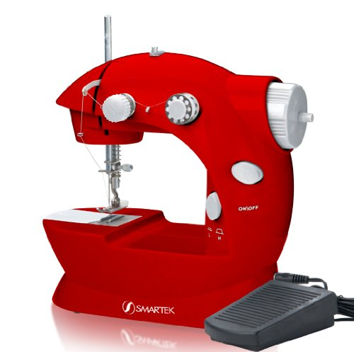 Smartek RX-08 Mini Sewing Machine with Pedal, Red