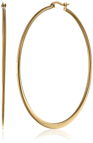 (Amazon Essentials Yellow Gold Plated Stainless Steel Flattened Hoop Earrings (60mm))