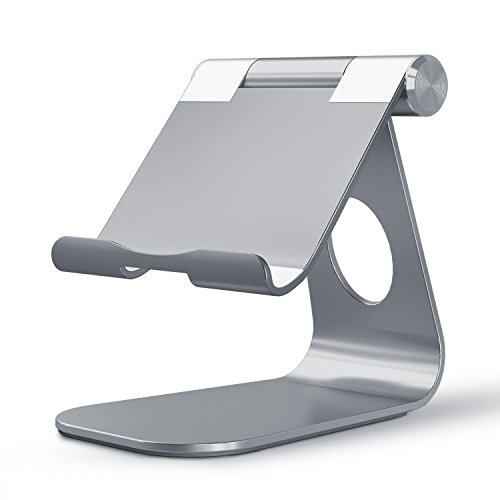 OMOTON Adjustable Tablet Stand Compatible with iPad, Tablets (Up to 12.9 inch) and All Cell Phones, Stable Sticky Base, Grey