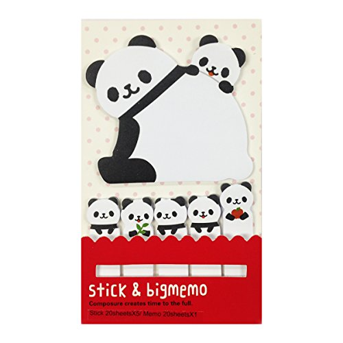 Wrapables Bookmark and Memo Sticky Notes, Panda and Cubs