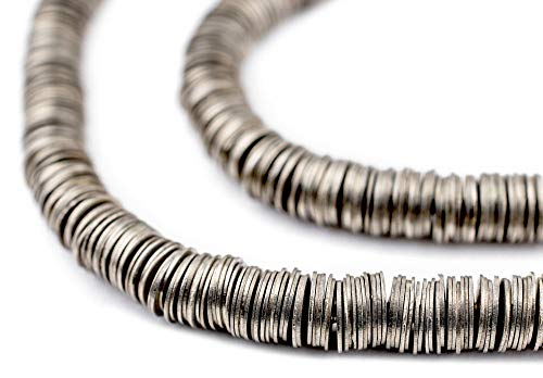 TheBeadChest Silver Flat Disk 6mm Beads, Full Strand of Metal Spacers for DIY Jewelry Design