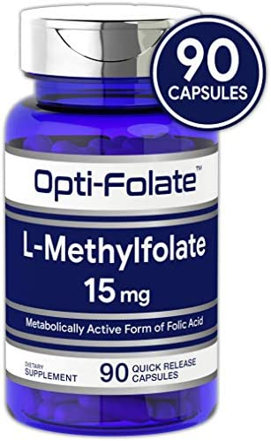L Methylfolate 15mg 90 Capsules Max Potency Optimized and Activated Non-GMO, Gluten Free Methyl Folate, 5-MTHF by Opti-Folate