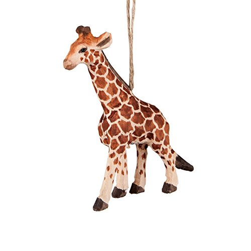 Giraffe Carved Wood Ornament