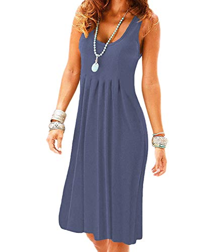 VERABENDI Women's Summer Casual Sleeveless Mini Plain Pleated Tank Vest Dresses (Medium, Purple Grey)
