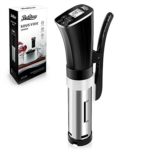 Betitay Sous Vide Machine, PTC Precision Thermostat Within 0.1℃, Betitay Immersion Circulator Cooker Touch Sensor LCD Display Temperature & Time, Adjustable Clamp, Fits on Any Pot, 1000 Watts price tips cheap