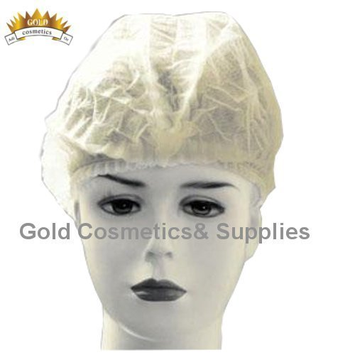 2000 Ct. White Disposable Accordion BOUFFANT CAP Non Woven Facial Hair Shower Client by Gold Cosmetics & Supplies
