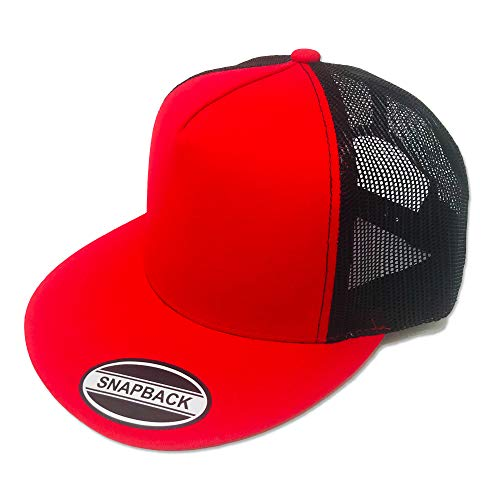 - GREAT CAP Blank Trucker Hat - Classic Flat Bill Visor Baseball with Mesh Snapback for Hot Weather, Summer, Outdoor, Running, Car Driving, Vacation, Fishing, Sport, Daily - RED/Black