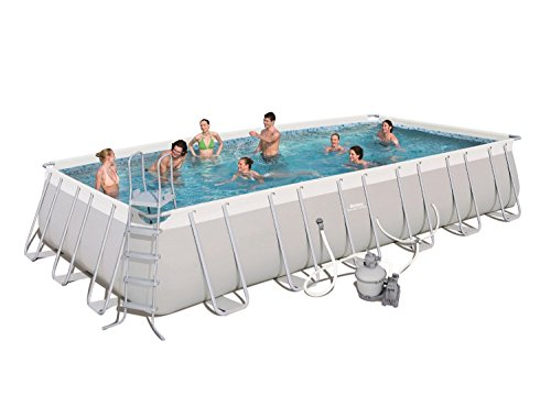 Bestway 56477E Power Steel Rectangular Frame Pool Set, 24' x 12' x 52