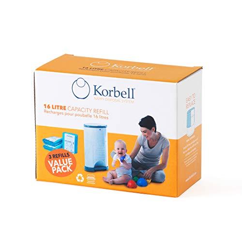 Korbell Nappy Bin Liner Refill 16L, 3-Pack