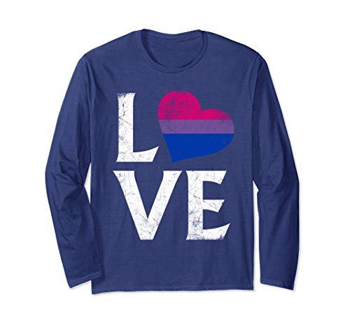 (Unisex Bisexual Pride Flag Heart Stacked Love Long Sleeve T-Shirt XL: Navy)