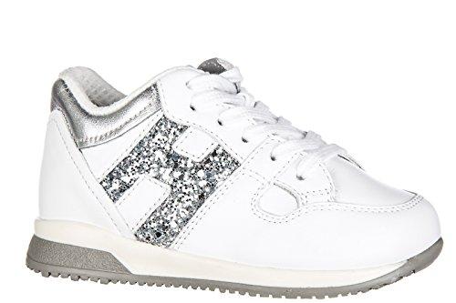 Hogan scarpe sneakers bimba bambina pelle nuove elective h grande zip bianco
