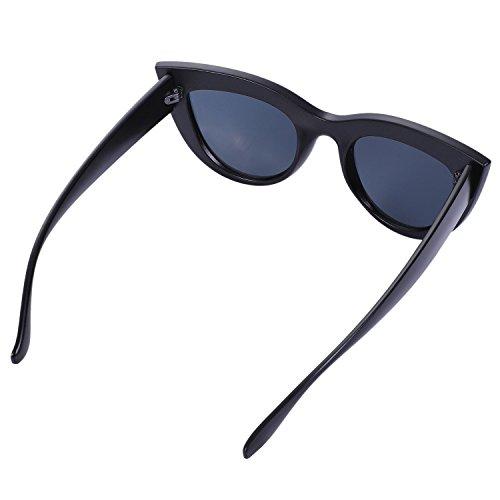 vintage marron Gafas de de ojos Gafas gato de Marco de femeninas S17066 sol Gafas de sol Marco negro Gafas leopardo SODIAL retro sol de negro de mujer fqtxT1pgw