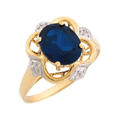 Sapphire Tone Two 14k Gold (14k Two-Tone Gold Simulated Blue Sapphire Elegant September Birthstone Ring)