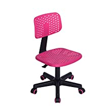 Office Chair Thanksgiving Christmas Gift, FurnitureR Low-Back Adjustable Kids Computer Seat Office Desk Design Task Chair Swivel Armless Children Study Chair Pink