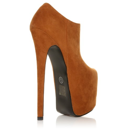 NEW WOMEN STILETTO HIGH HEEL PARTY PLATFORM SHOES SIZE 3/36 - 8/41 Tan Suede FGLeK4d83g