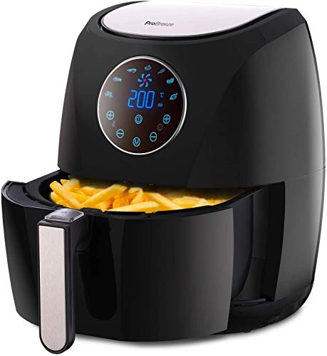 Pro Breeze Air Fryer 4.2L 1400W With Digital Display Timer And Fully Adjustable Temperature Control For Healthy Oil Free & Low Fat Cooking 4.2L Black