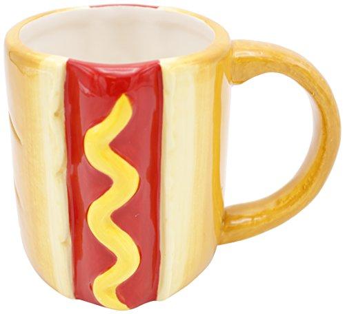 Island Dogs 59419 Hot Dog Novelty Shaped Mug, 16 oz, Multicolor (Shaped Novelty Mugs)
