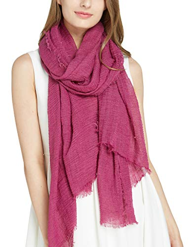 Crinkle scarf Solid Rose Scarfs - Pantonight Rose Plain Cotton Wrinkle and Crinkle Large Shawl for women (scarf 204)