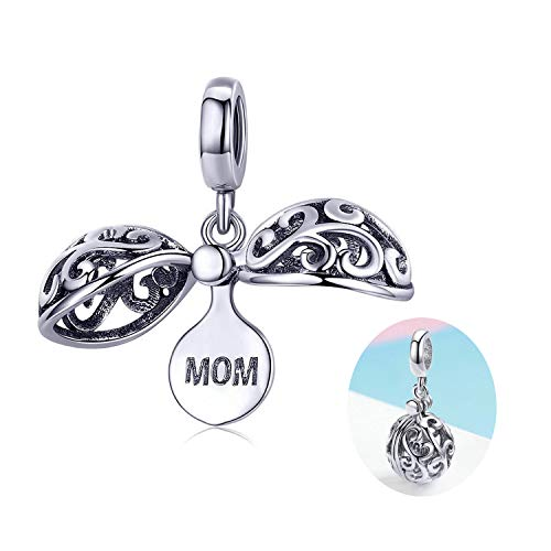 925 Sterling Silver Charm fit Pandora Charms Bracelet Necklace Love Mom Charm Birthday Jewelry